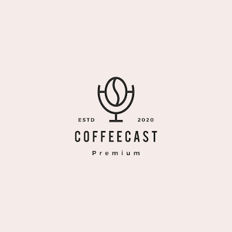Koffie podcast logo hipster retro vintage pictogram voor koffie blog video review vlog kanaal radio-uitzending
