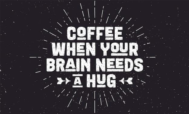 Koffie. poster met hand getrokken belettering koffie