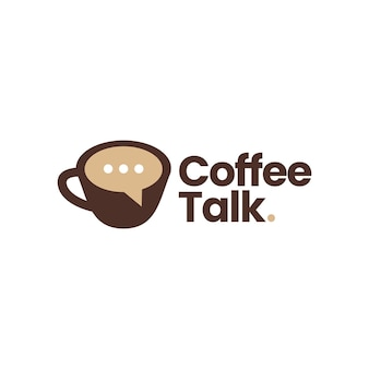 Koffie praten chat bubble forum logo vector pictogram illustratie