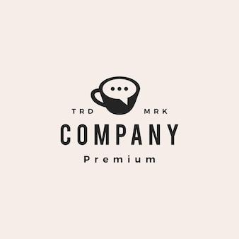 Koffie praten chat hipster vintage logo vector pictogram illustratie