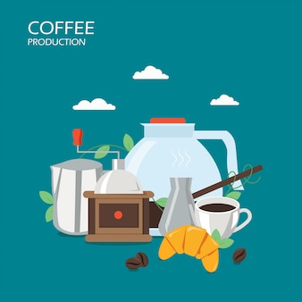 Koffie productie vector vlakke stijl ontwerp illustratie
