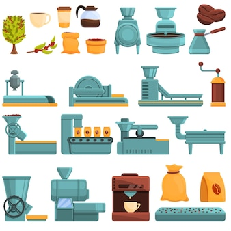 Koffie productieset. cartoon set van koffieproductie