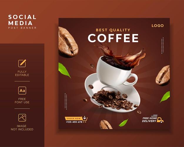 Koffie promotie post sjabloon
