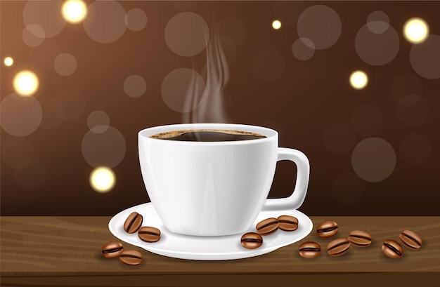 Koffie realistisch, zwarte koffiekop en koffiebonen, witte kop realistische, warme drank
