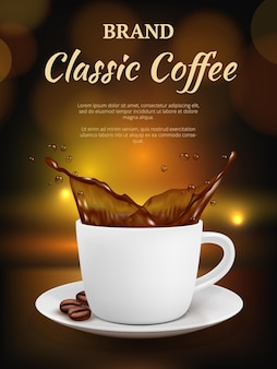 Koffie reclame. beker met warme dranken en drank pakket promotie plakkaat van koffie vector sjabloon. banner kopje koffie, borrel reclame bij het ontbijt
