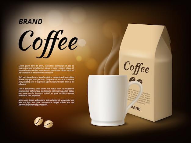 Koffie reclame. poster ontwerpsjabloon met s van koffiemok