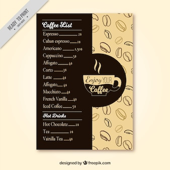Koffie retro menu met tekeningen van koffiebonen