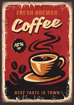 Koffie retro vintage poster premium ontwerpsjabloon