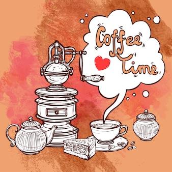 Koffie schets achtergrond
