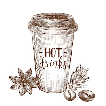 Koffie schets element achtergrond
