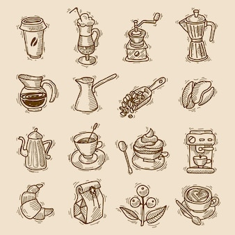 Koffie schets iconen set