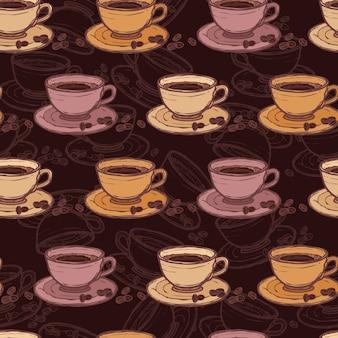 Koffie schets naadloze patroon