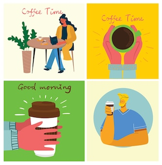 Koffie set illustraties.