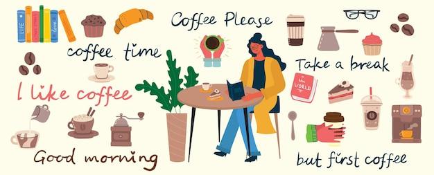 Koffie set vectorillustraties. mensen brengen hun tijd door in de cafetaria, drinken cappuccino, latte, espresso en eten desserts in de vlakke stijl