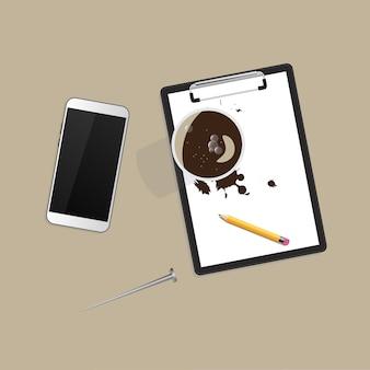 Koffie, smartphone, vorm. workspace
