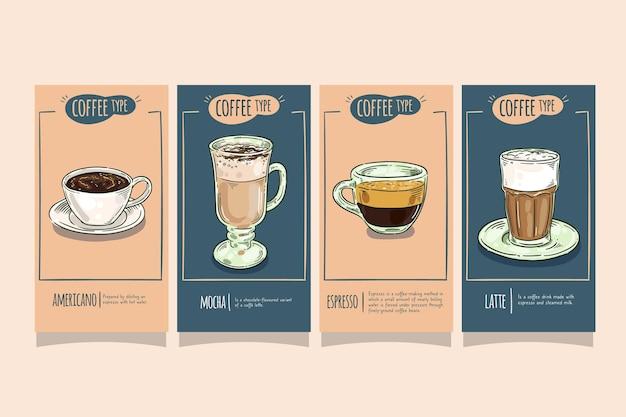 Koffie soorten instagram-verhalen
