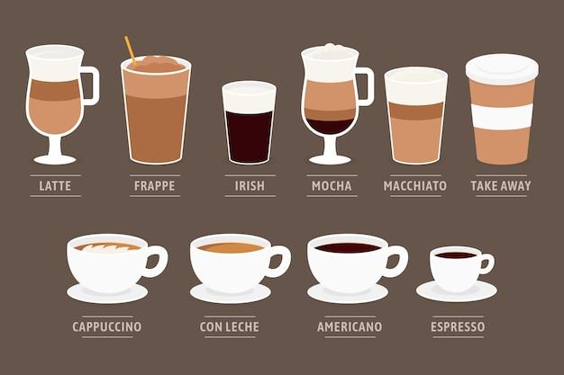 Koffie soorten ontwerp