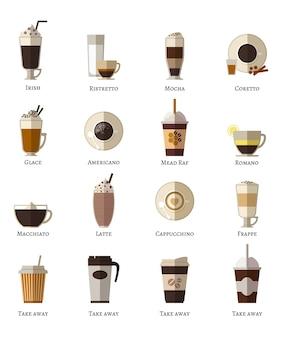 Koffie soorten vector plat pictogrammen instellen. latte romano frappe glace afhaalmaaltijden correta mokka ierse ristretto americano cappuccino espresso.