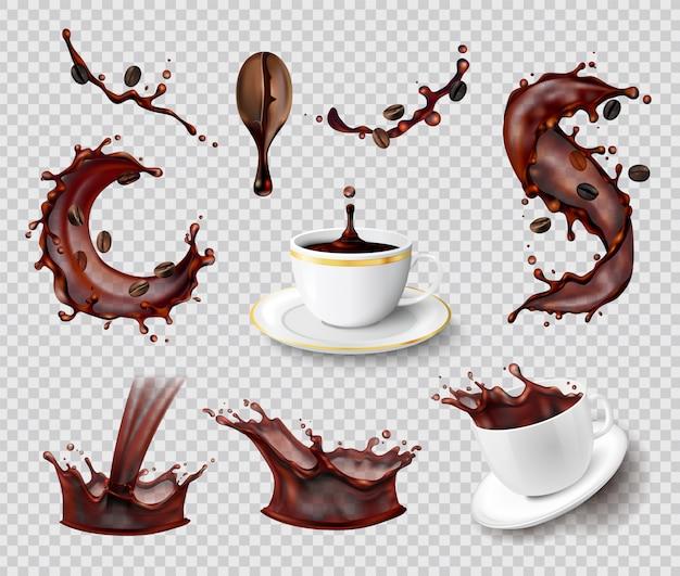 Koffie spatten realistische set van geïsoleerde vloeibare spray koffieboon en keramische kopjes op transparant