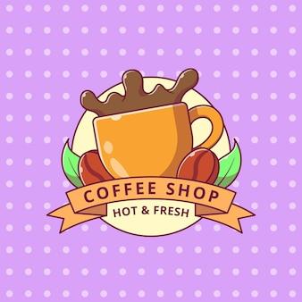Koffie splash cartoon logo flat badge label.