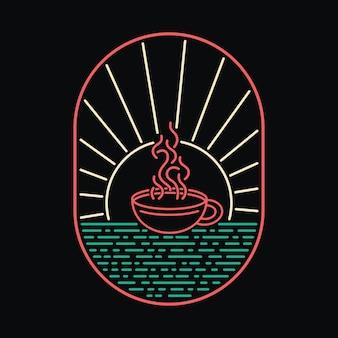 Koffie strand zee natuur wild badge neon illustratie t-shirt