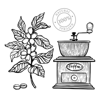 Koffie tak molen ontwerp monochroom hand getrokken schets illustratie sketch Premium Vector