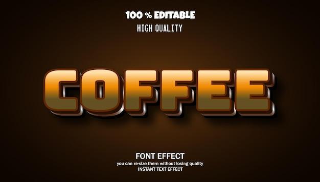 Koffie teksteffect bewerkbaar lettertype