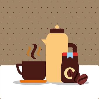 Koffie thermoskan keramische beker fles product en bonen