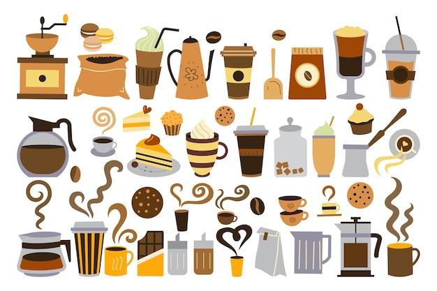 Koffie tijd doodle set geïsoleerd op wit