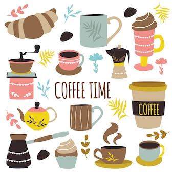 Koffie tijd hand getrokken ontwerp