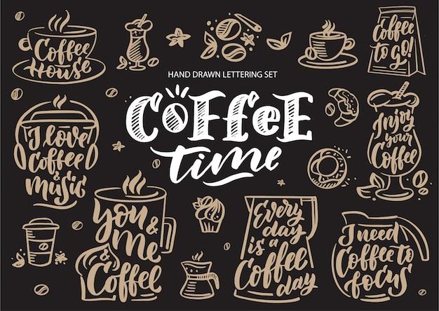 Koffie tijd ingesteld. logo, emblemen, slogans, zinnen voor uitnodiging, wenskaart en briefkaart.