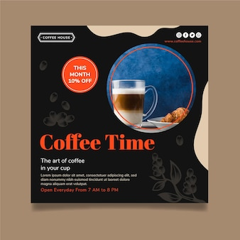 Koffie tijd kwadraat flyer-sjabloon Gratis Vector