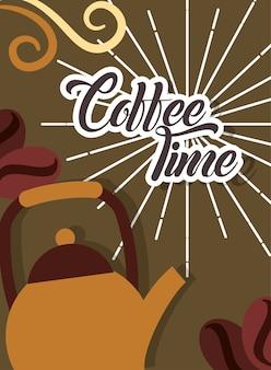 Koffie tijd metalen ketel en zaden retro stijl kaart