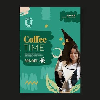 Koffie tijd poster afdruksjabloon