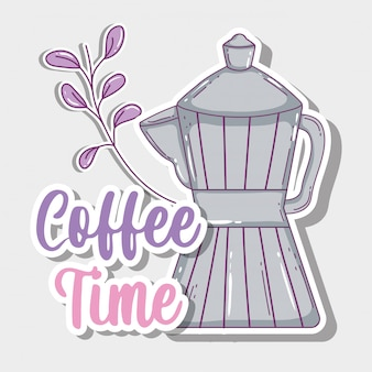 Koffie tijd schets plat