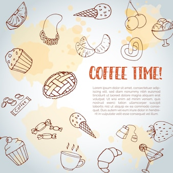 Koffie tijd tekst achtergrond.