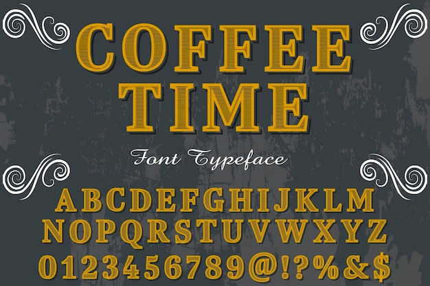 Koffie tijd typografie alfabetische grafische stijl