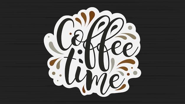 Koffie tijd vector banner. mooi handgeschreven lettertype op een zwart bord. vector illustratie