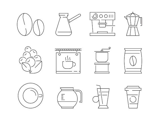 Koffie tijdpictogram. thee en warme dranken mokken bewerken machine machine ierse koffie vector lineaire dunne symbolen