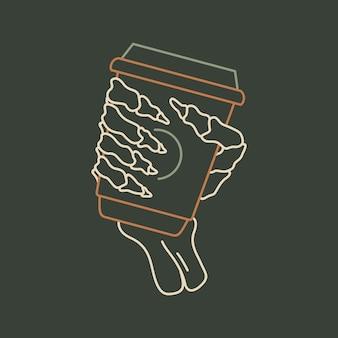Koffie tot de dood 1 monoline-illustratie