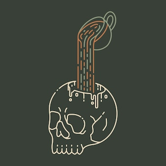 Koffie tot de dood 2 monoline-illustratie