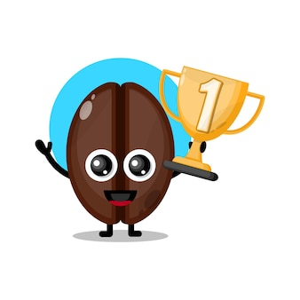 Koffie trofee schattig karakter mascotte