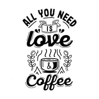 Koffie typografie design met vintage stijl