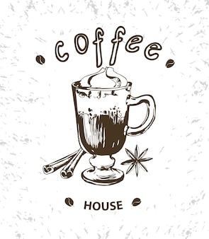 Koffie vector poster in schets stijl hand getrokken ontwerpelementen vector sjabloon eps