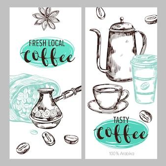 Koffie verpakking illustratie set