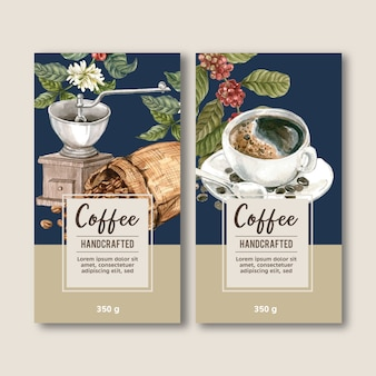 Koffie verpakking tas met tak laat bonen, maker machine, aquarel illustratie
