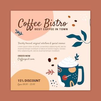 Koffie vierkante flyer ontwerpsjabloon