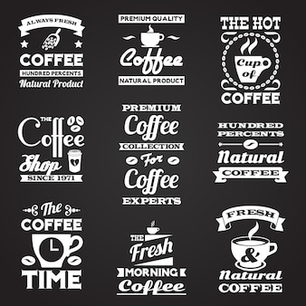 Koffie vintage etiketten instellen