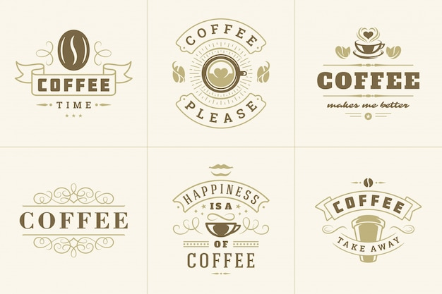 Koffie vintage logo met citaten
