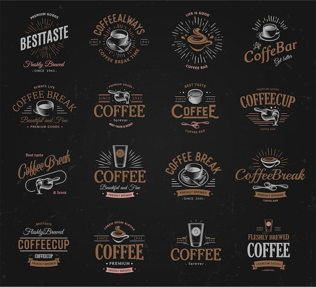Koffie vintage logo's set.